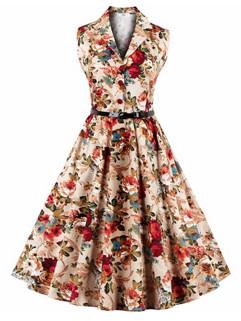 Plus Size Floral Turndown Collar Vintage Dresses