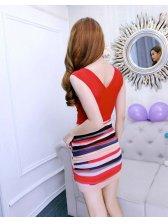 V Neck Stripe Patchwork Beading Mini Dress