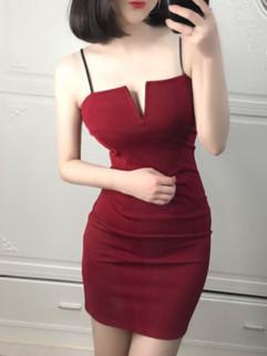 New V Neck Spaghetti Straps Bodycon Dress