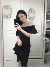 Sexy Off Shoulder Flouncing Dress