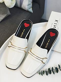 Square Toe Solid Women Mule Shoes Flats