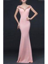 Elegant Crystal Design Long Fancy Blush Evening Dress