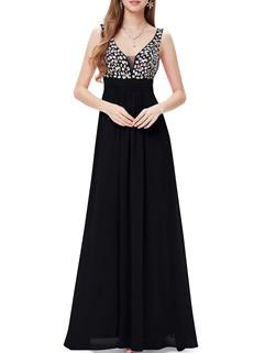Crystal V Neck Long Evening Dress