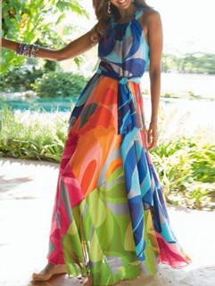 Boho Style Prints Chiffon Long Dress
