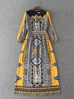 Vintage Print O Neck Zipper Long Dresses