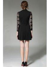 Black Lace Patchwork Long Sleeve Nice Dresses