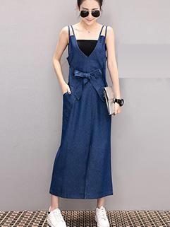 Fashion Suspender V Neck Loose Backless Dress