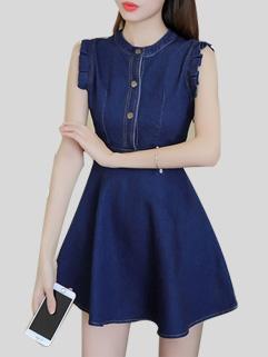 Fashion Heart Style Sleeveless Single Fastener Slimming Dress
