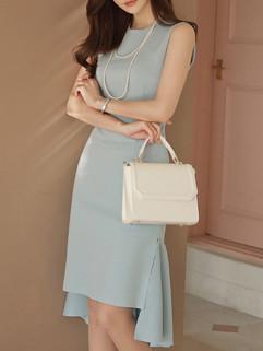 Korean O Neck Zipper Fashion Dresses