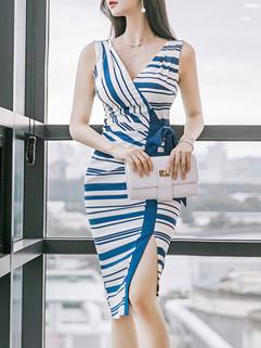 Sexy V Neck Stripe Bandage Nice Dresses