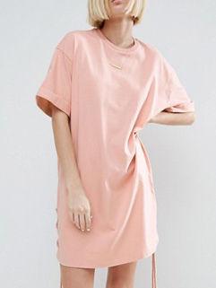 Fashion O Neck Lace-up Side T-shirt Dress