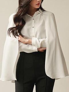 Modest Poncho White Blouse Design