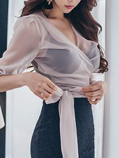 Trendy Tie-wrap Flare Sleeve Chiffon Blouse