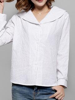Korean Style V Neck Long Sleeve Blouse