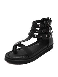 Rivet Low Heel Sandals For Girls