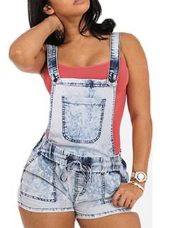 Street Wear Pocket Overalls Denim Suspender Pants