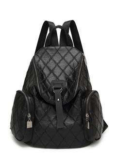 Rhombus Pattern Zipper Up Black Backpack