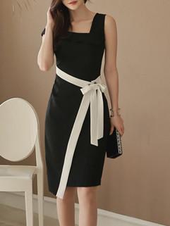 Korean OL Style Bandage Women's Dresses