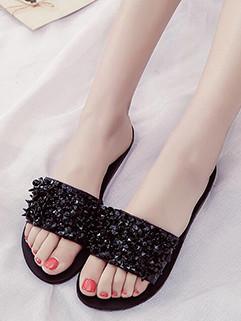 Beading Low Heel Women Slippers Shoes