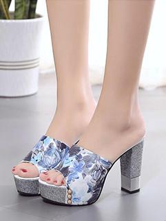 Floral Platform Women Slippers Shoes