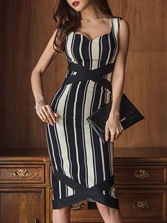 Korean Stripe V Neck Wrap Women's Dresses