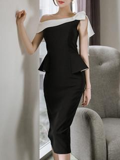 Korean One Shoulder Bow Pencil Women's Dresses