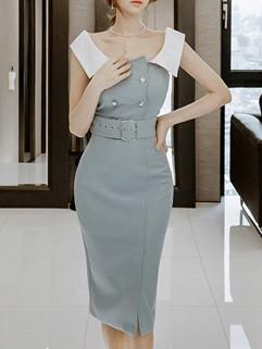 OL Style Off Shoulder Belted Pencil Dress