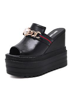 Beading Platform Slippers For Girls
