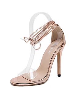 Lace Up Transparent Girls High Heel Sandals
