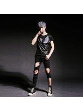 Korean Design Worn Out Zipper Black Pants