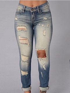 Ripped High Waist Women Blue Jeans