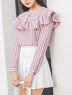 Korean Striped Ruffle Blouse Top