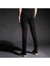 Black Broken Hole Zipper Chic Pants