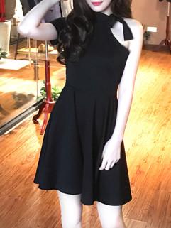 OL Style One Shoulder Halter Solid Fashion Dresses