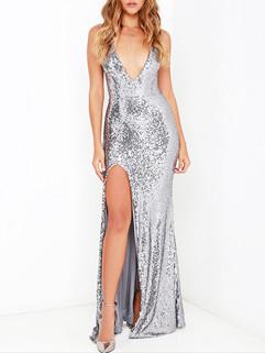 Sexy Backless V Neck Slit Evening Dresses