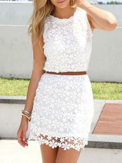 White O Neck Floral Mini Lace Dress