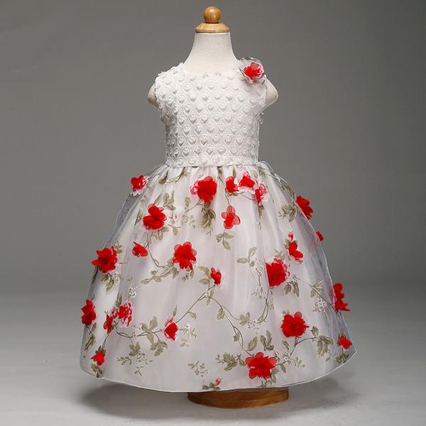 Flower Gauze Sleeveless Dress For Girls
