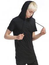 Side Zipper Hooded Collar Chic Men T-shirt