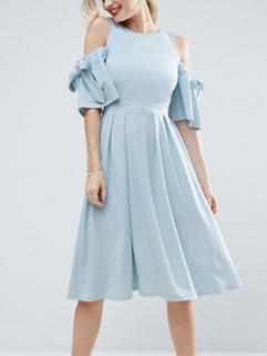 Open Shoulder Hollow Out A Line Dress