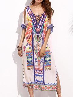 Boho Print Lace Up Long Dress Loose