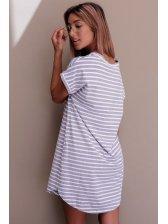 Street Wear V Neck Striped Long T Shirt