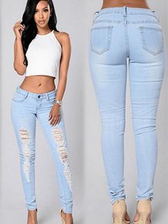 Ripped High Waist Women Denim Jeans