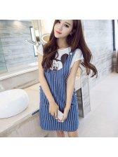 Stripe Denim Women Pullover Dress