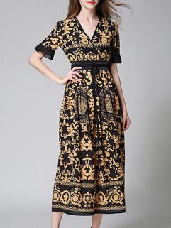 Half Flare Sleeve Vintage Print Floral Dress