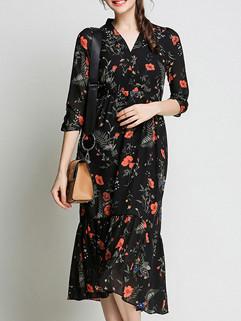 Chiffon V Neck Floral Print Fishtail Dress
