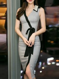Elegant V Neck Slit Pencil Dress Women