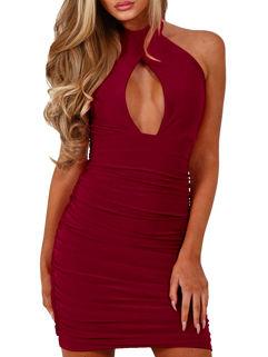 Sexy Backless Pierced Sleeveless Halter Dress