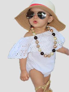 Boat Neck Ruffles Baby Girl White Onesie