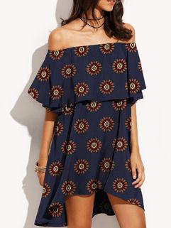 Print Floral Off Shoulder Summer Cheap Dress