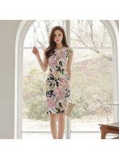Korean Floral Print Pencil Dress Women